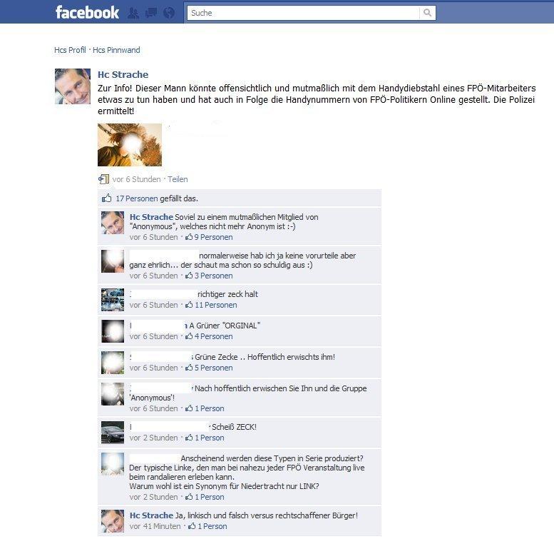 Das Posting auf HC Straches Facebook Seite