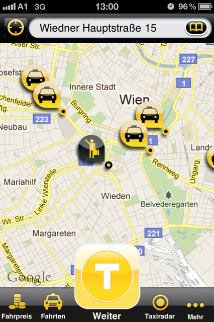 Screenshot myTaxi-App