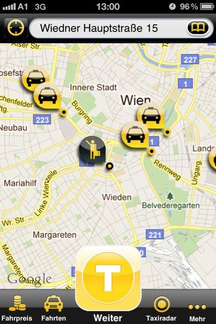 Screenshot myTaxi-App