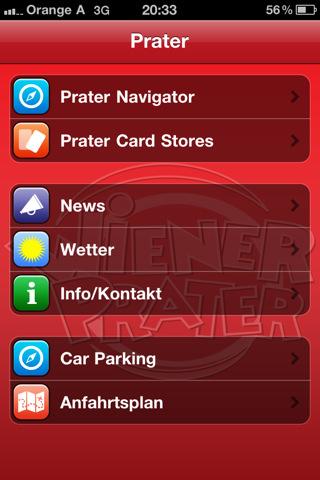 Prater App Hauptmenü