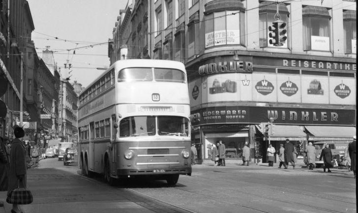 Stockbus Linie 13 Neubaugasse Mariahilfer Straße, 1963 (c) Wiener Linien