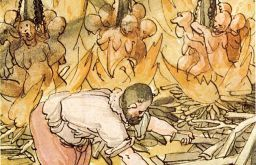 Hexenhinrichtung - Jacob Truchsess von der Scheer zu Waldsee liess am 10. Juni 1587 21 Hexen, am 11. Juni 9 und tags darauf nochmals 8 Hexen in einem Brand hinrichten. Aus der Wickiana (Sammlung des Johann Jakob Wick (c) Zentralbibliothek Zürich