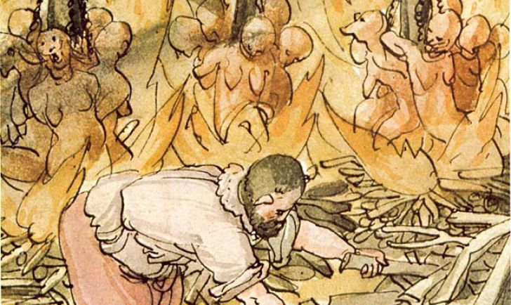 Hexenhinrichtung - Jacob Truchsess von der Scheer zu Waldsee liess am 10. Juni 1587 21 Hexen, am 11. Juni 9 und tags darauf nochmals 8 Hexen in einem Brand hinrichten. Aus der Wickiana (Sammlung des Johann Jakob Wick, Zentralbibliothek Zürich)