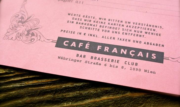 Cafe Francais Karte (c) Nohl stadtbekannt.at