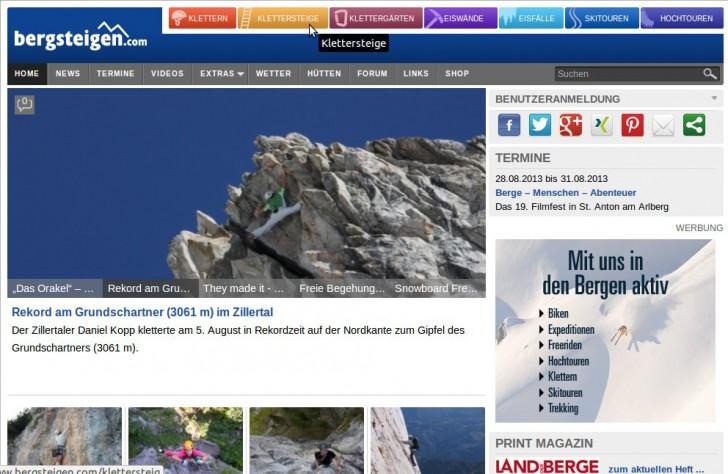 (c) Bergsteigen.com Startseite