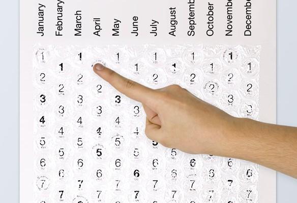Der Luftpolsterfolienkalender