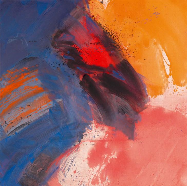 Josef Mikl, Rote Form in einer Ebene, 1990, Öl auf Leinwand, 138 x 138 cm, Fotonachweis: Stefan Fiedler – Salon Iris, Wien, © Sammlung Essl Privatstiftung