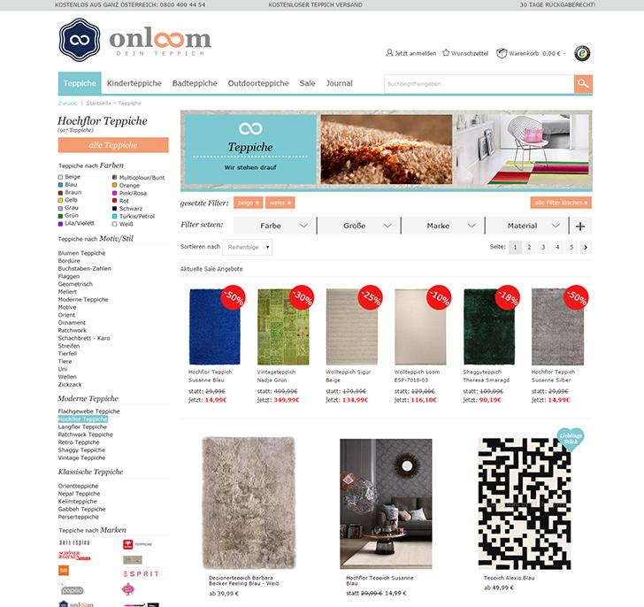 Der stadtbekannt Webtipp onloomat – dein Teppich