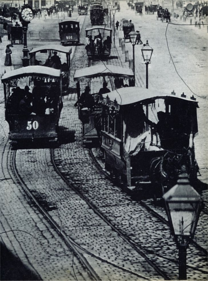 Pferdestraßenbahn Wien 1872 Foto: Wilhelm J. Burger