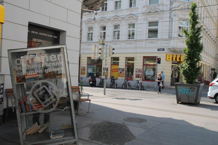 Offener Bücherschrank Zieglergasse Westbahnstraße (c) STADTBEKANNT Hofinger