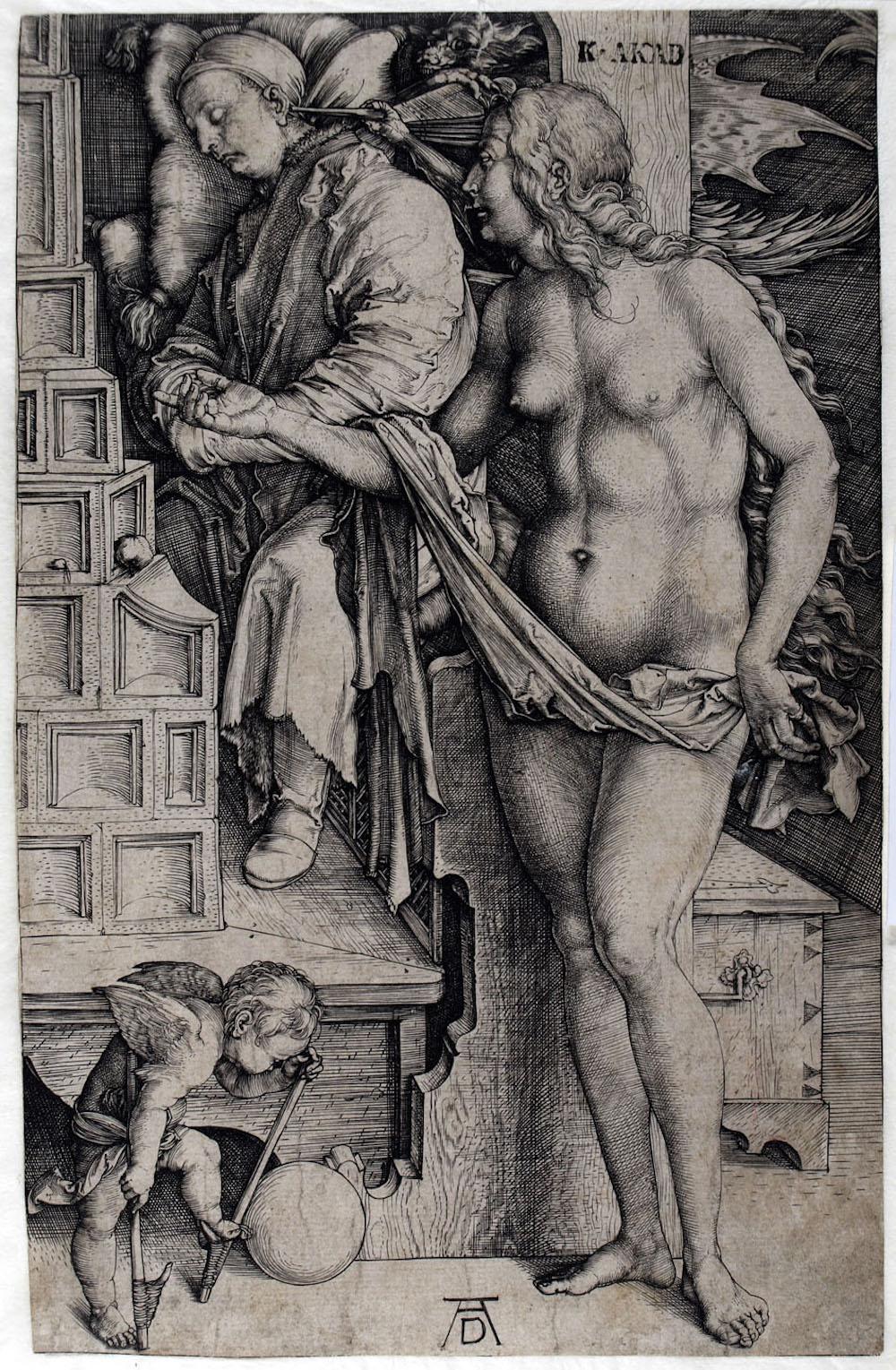 Albrecht Dürer (1471 – 1528): Die Versuchung des Müßiggängers (Der Traum des Docktors), um 1498, Kupferstich, © Kupferstichkabinett der Akademie der bildenden Künste Wien