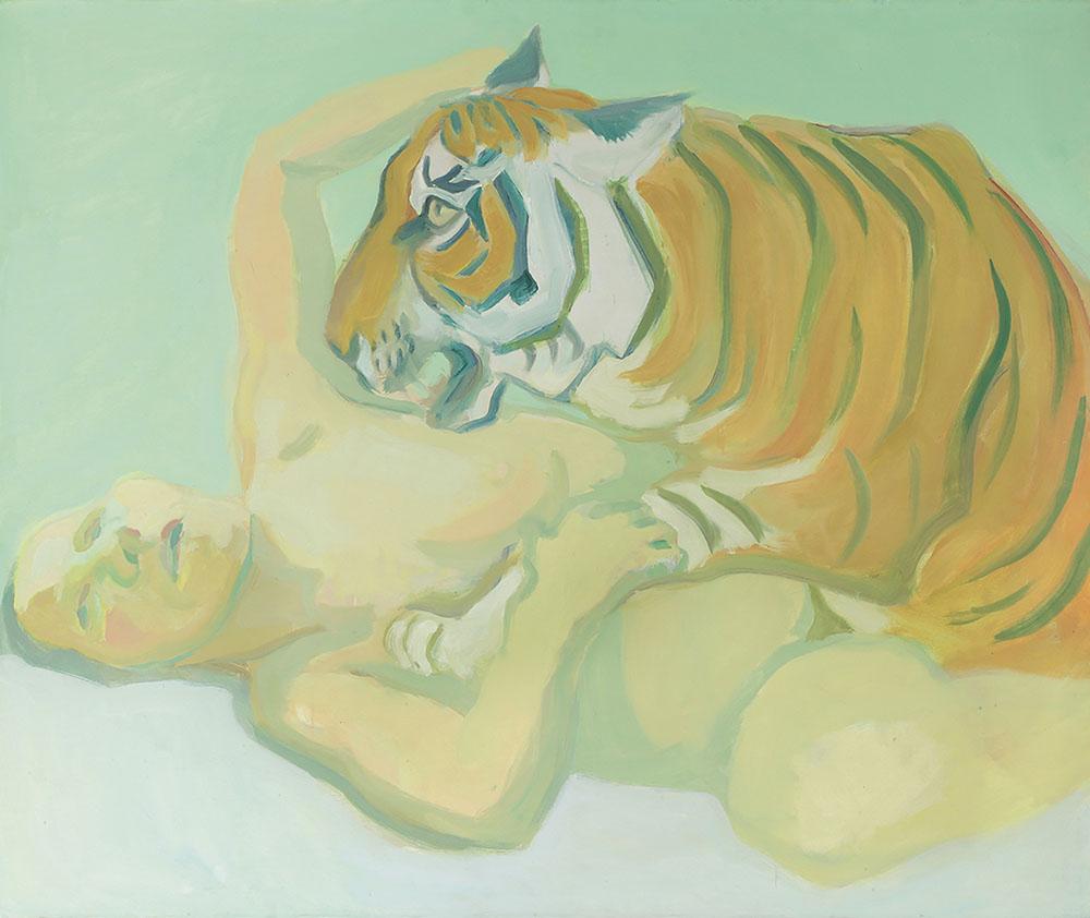 Maria Lassnig - Mit einem Tiger schlafen 1972 Albertina, Wien - Dauerleihgabe der Oesterreichischen Nationalbank (c) Maria Lassnig Stiftung